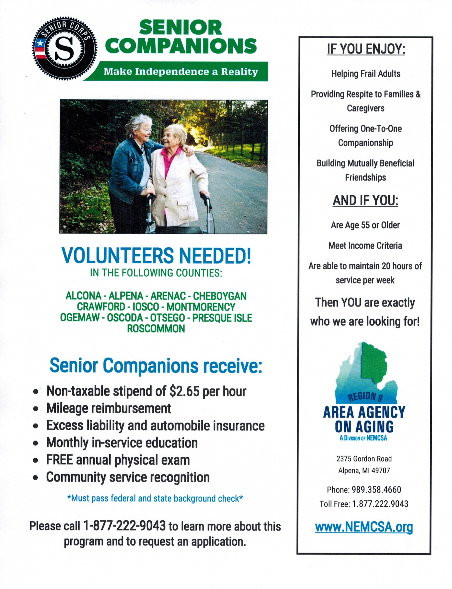 NEMCSA Senior Companion Program Flyer, Call 1-877-222-9043 for more information