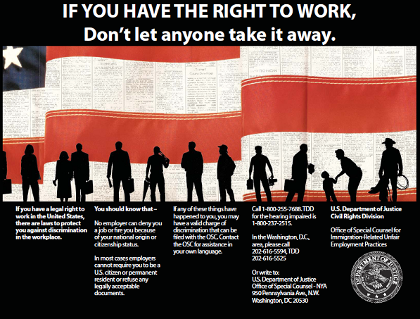 the right to work image with american flag